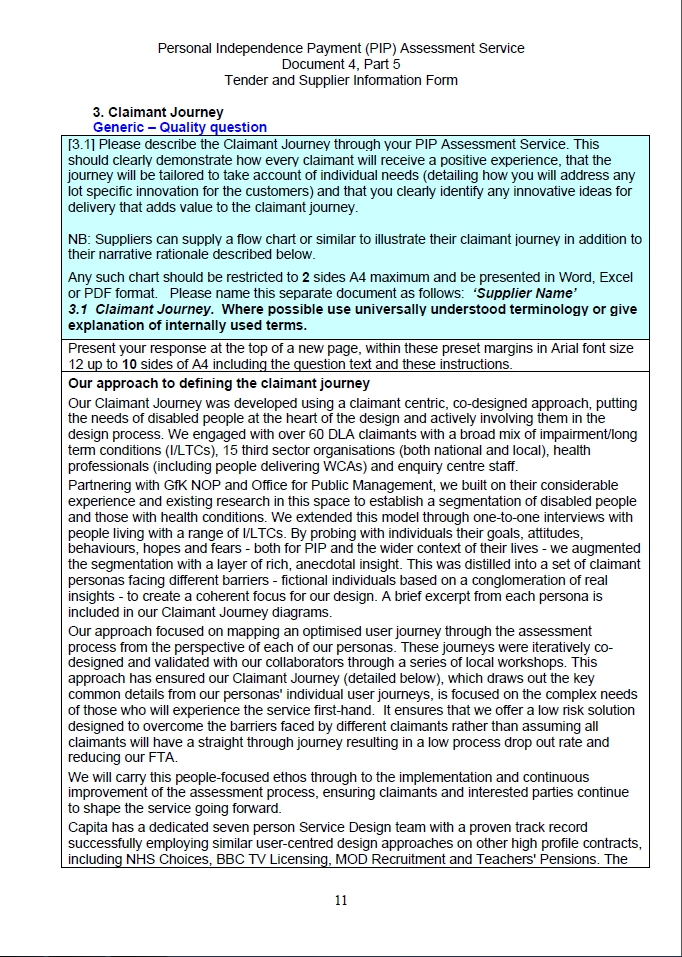 PIP Tender documents – Document 4 Part 5 (unredacted because